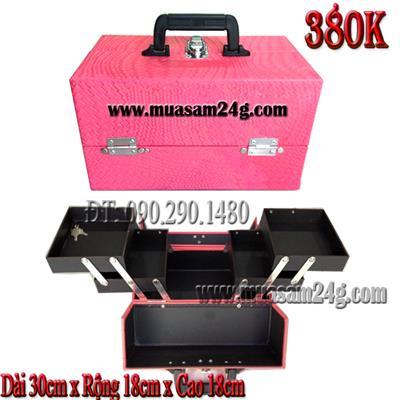 Cốp Trang Điểm Loại Trung 30cm màu hồng