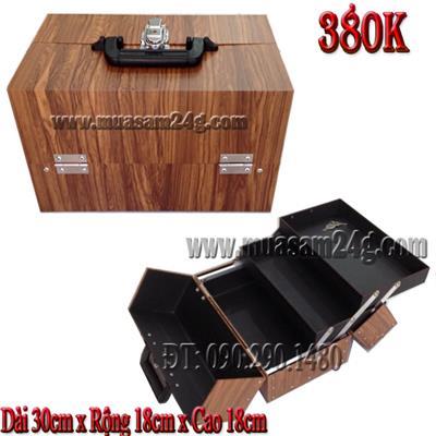 Cốp Trang Điểm Loại Trung 30cm màu vân gỗ