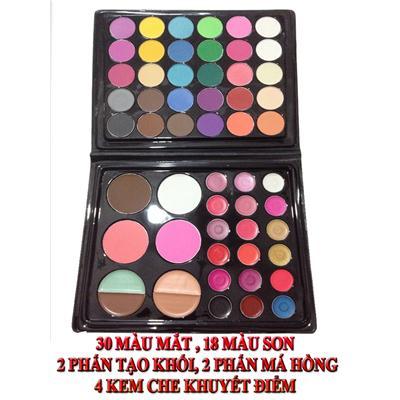 Set tổng hợp 30 màu mắt,18 màu son,má hồng và phấn tạo khối